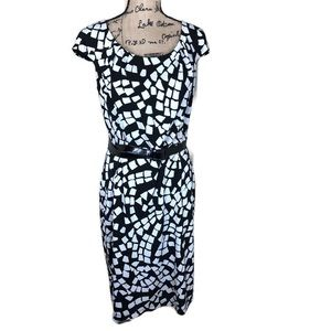 David Meister Black White Cap Sleeves Dress 14